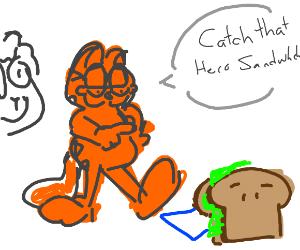 Garfield and Jon earing a Hero sandwich
