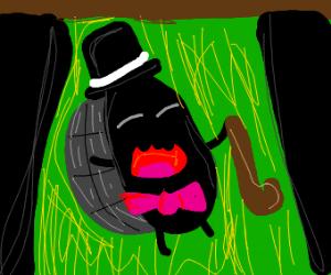 Beetle dancing in spotlight