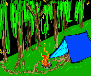 a campfire next to a tent at night