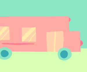 Pastel bus 'goin to Skool