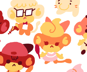 Earthbound characters, as monkeys