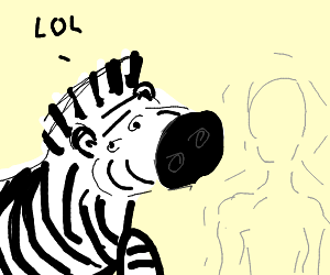 Invisible Man next to a large zebra