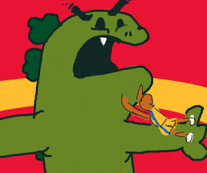 Greek guy desperately fights green monster