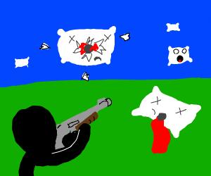 Black man shooting pillow