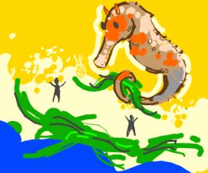 giant seahorse spreading seaweed by ocean