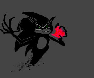Sonic's Heartless eats a life crystal.