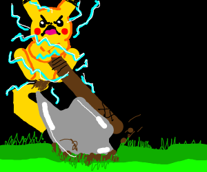 pikachu swinging his waraxe
