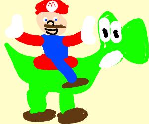 Mario Riding Yoshi Drawception