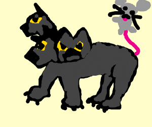 Cerberus with a derpy mouse for a tail