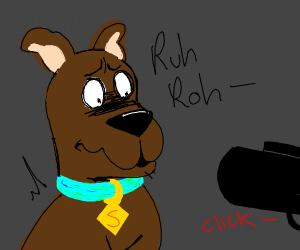 dog being held at gunpoint