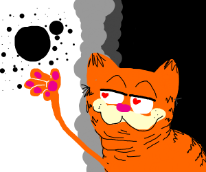 Garfield LOVES his floating black dots