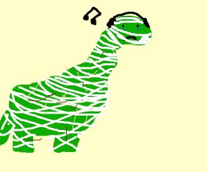 Dinosaur mummy cries while listening to music