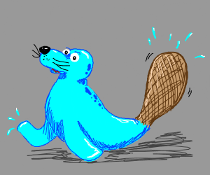 Blue seal with beaver tail