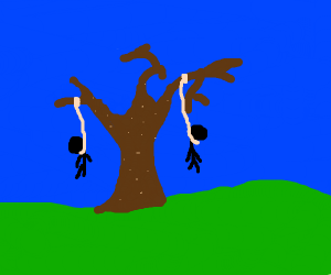 Two guys being hung on a tree