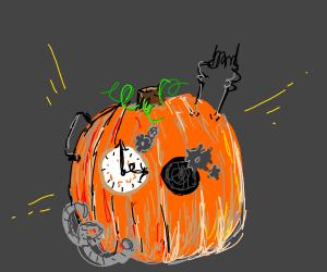 A clock mechanism inside of the pumpkin