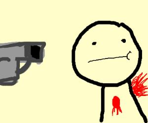Guy get shot by square gun