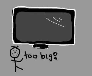 small stick man comments on huge tv