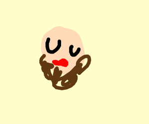 Someone with lipstick and a beard