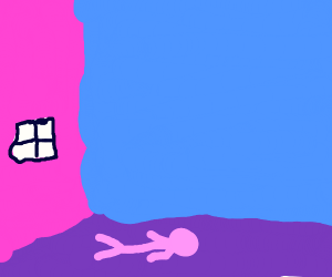 Floppy pink man lying on the floor