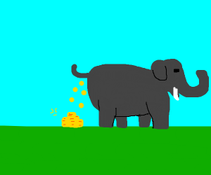 elephant pooping coins