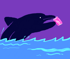Purple dolphin drinking coke