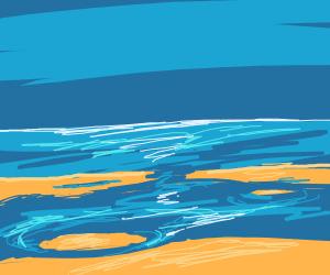 beach, tide is in