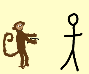 Monkey clumsily aims stick gun at stick dude