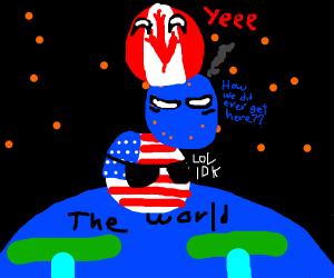 canada ball on top of world, usa, eu, and prc