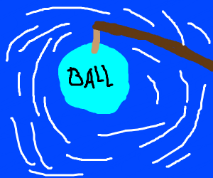 fishing for a blue ball in a blue background