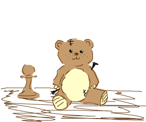 Board game piece next to vodoo bear