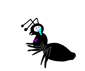 Army ant with purple heart is very sad
