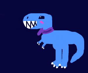 Blue dinosaur loves his purple scarf