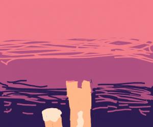 Minecraft fox watching the sunset