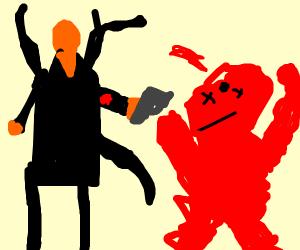 orange slenderman brutally shoots elmo