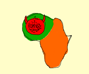 Satan is in the green third of Africa(I think