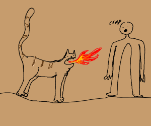 Cat spewing fire