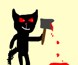 Evil black cat with a bloody axe