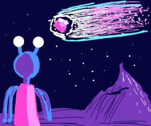 blue alien woman looking at shooting star