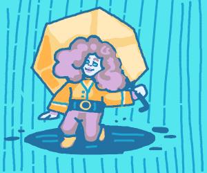Happy girl under umbrella in the rain