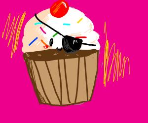 Glowing cupcake man with an eyepatch