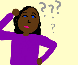 Half colored confused African American woman