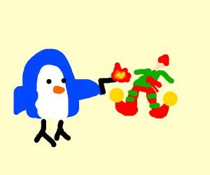 blue penguin shot an elf