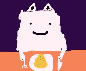 white catto enjoys scrambled eggs and snowcon