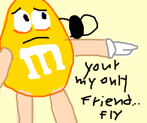 the yellow M&M has only 1 friend... a fly...