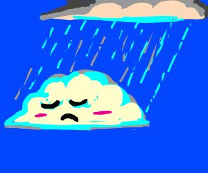 Sad raincloud doesnt like it when it rains :(