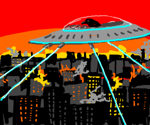 Bird in a spaceship destroys the city
