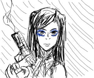 Anime girl with smoking gun