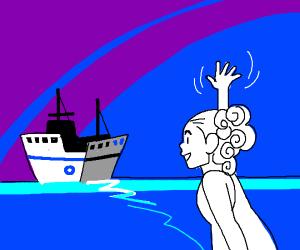 Girl waves to leaving ship