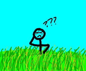 Confused man in a field