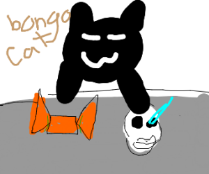 Black bongo cat smacks candy basket and sans